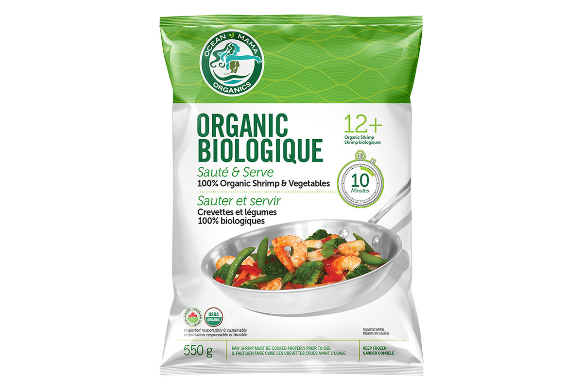 organic Shrimp and Organic Vegetable Sauté Package
